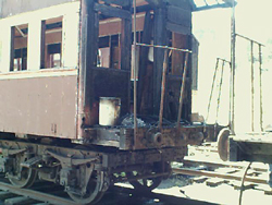 Fire damaged end platform car